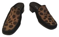Stuart Weitzman Suede Pony Hair Pattern Leather Lining Slip On Black and leopard Flats