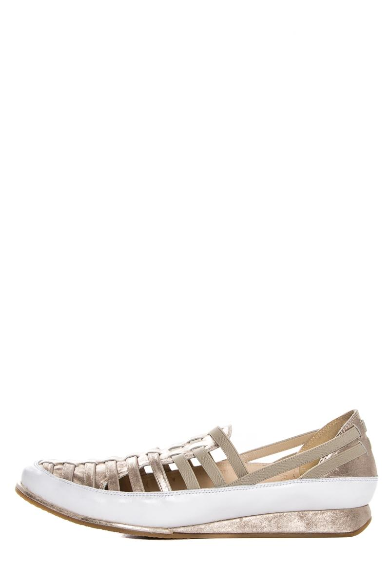 Stuart Weitzman White & Gold Leather Sneakers Sneakers Size US 8.5 Regular (M, B)