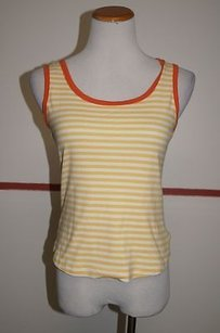 Style & Co And Cotton Sleeveless Scoop Neck 22163 Top Yellow/White