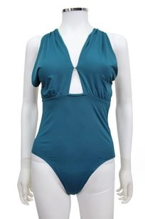 Stylestalker Style Stalker Teal Faux Leather Bodysuit Open Back S2