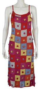 Sue Wong Womens Knit Sleeveless Below Knee Casual Sheath Dress