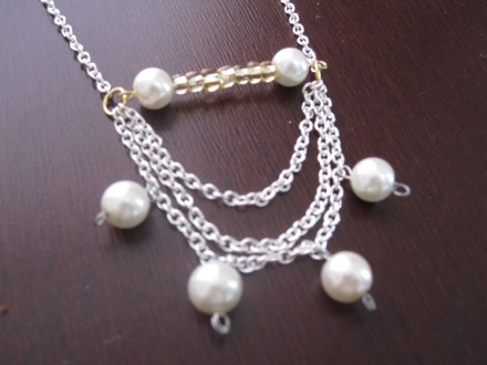 "Other ""Maria"" Classic Long White Pearl and Gold Beads Chain Statement Necklace"