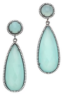 Ben-Amun ONE by Susan Hanover Crystal Crown Double Tear Drop Earrings in Aqua Blue