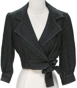 Susana Monaco Cropped Belted Womens Jean Jacket