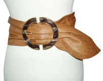 Suzi Roher SUZI ROHER Buttery Soft Tan Lamb Leather Wide Stretch Cinch Belt