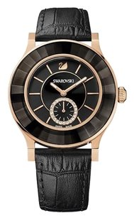 Swarovski Octea Classica Black Rose Gold Tone Watch