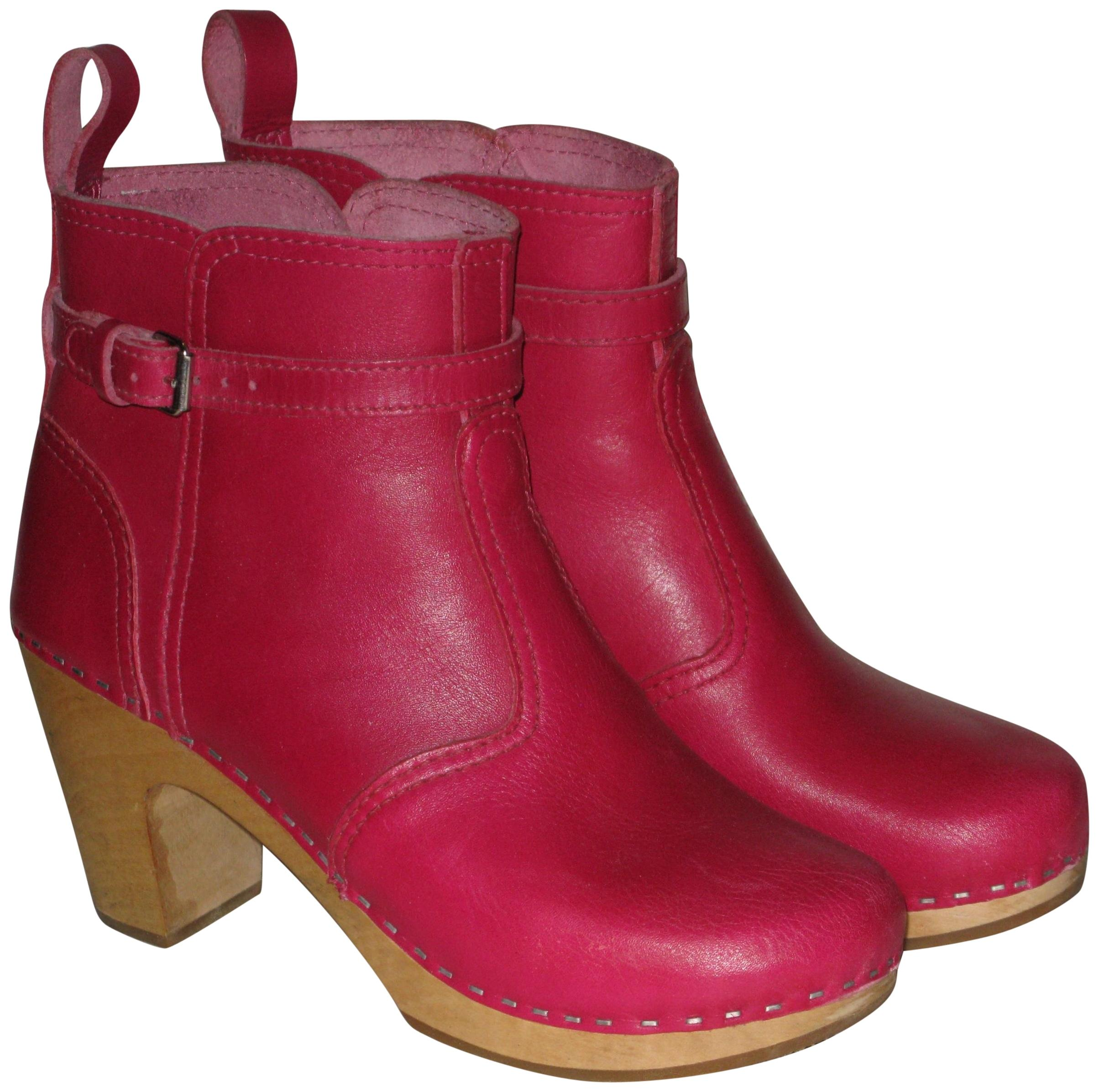Footaction Precio Barato Hasbeens Womens Zip it Super High Red Leather Boots 40 EU La Calidad De Italia Al Por Mayor UP4yLR