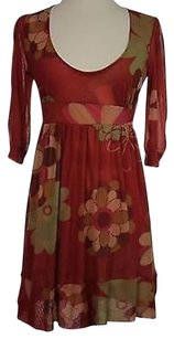 Sweet Pea by Stacy Frati Womens Red Pink Floral Short 100 Nylon Dress