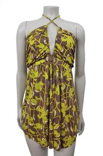 T-Bags Los Angeles Braided Printed Brown,Yellow. Halter Top