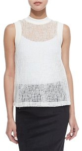 T by Alexander Wang Sheer Ivory Knit Top White