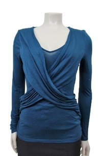 T Tahari Criss Cross Top teal