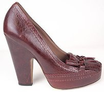 Tabitha Simmons Leather Trim Tassel Pumps Heels Burgundy Platforms