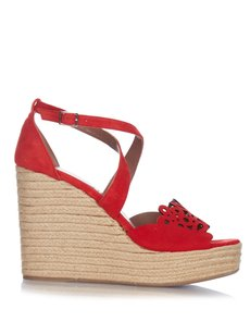 Tabitha Simmons Open Toe Ankle Strap Red Sandals