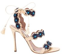 Tabitha Simmons Open Toe Floral Stiletto Embroidered Gold Gold, Blue Sandals