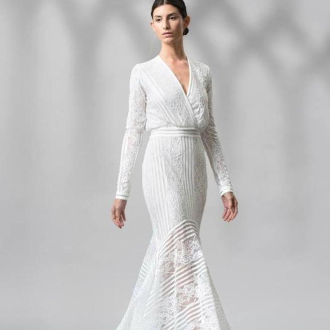 Tadashi Shoji White Jersey Never Worn Casual Wedding Dress Size 16 (XL,  Plus 0x
