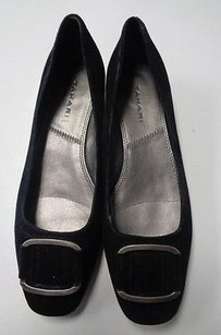 Tahari Square Toe W Hardware Accents Leather B3238 Black And Silver Flats