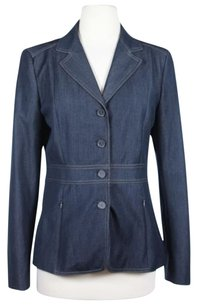 Tahari Elie Womens Basic Long Sleeve Coat Blazer Polyester Navy Jacket