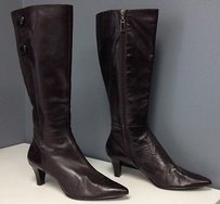 Tahari Leather Side Zip Brown Boots