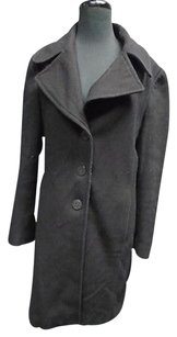 Tahari Solid Long Sleeved Button Down Lined Pea 3280a Pea Coat