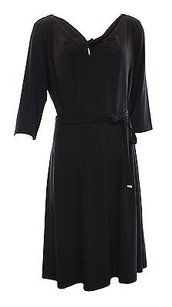 Tahari Black Solid Belted Dress