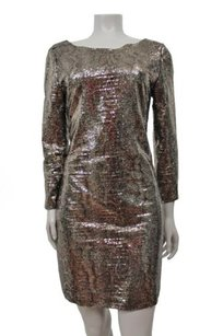 Tahari short dress Brown,gold Ezra Gold Sequin Mesh Snake Print Shift Brown on Tradesy