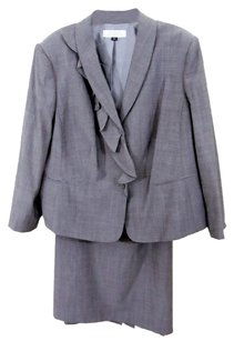 Tahari TAHARI 0260L520 Two-Piece Grey Wool Blend Skirt Suit Size 20W