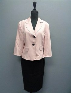 Tahari Tahari Arthur S. Levine Pink Black Button Up Suit Polyester Blend Sm2714