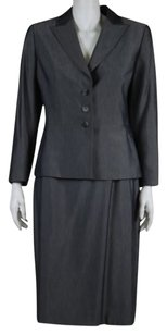 Tahari Tahari Womens Gray Skirt Suit Blazer Straight Career