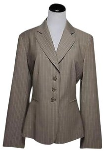 Tahari Tahari Womens Brown Striped Blazer Wool Long Sleeve Jacket