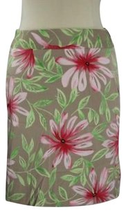 Talbots Womens Pink Green Skirt Multi-Color