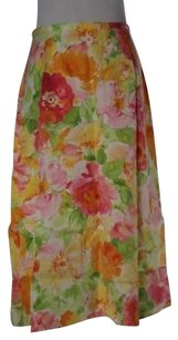 Talbots Womens Yellow Floral Skirt Multi-Color