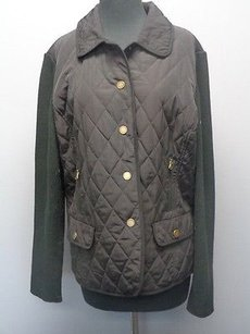 Talbots Long Ribbed Sleeves Quilted Snap Front Solid Sm875 Black Jacket