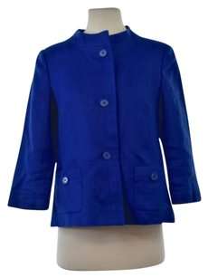 Talbots Womens Textured Basic 34 Sleeve Linen Blend Coat Blue Jacket