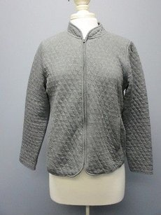 Talbots Cotton Long Sleeves Full Zip Front Solid Casual Sma2276 Gray Jacket
