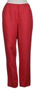Talbots Womens Casual Linen Ankle Length Trousers Pants