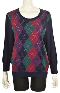 Talbots Womens Blue Crewneck Argyle Long Sleeve Casual Shirt Sweater