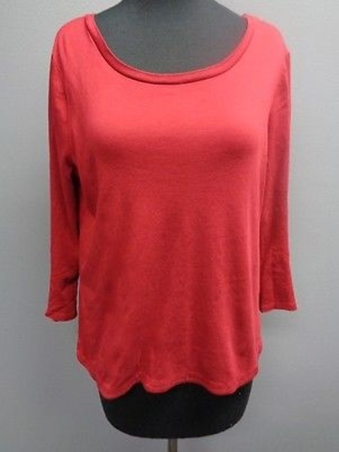Talbots Deep Red Cotton Blend Casual Fit 34 Sleeve Knit Top Sm2491 good