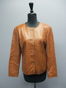 Talbots Leather Long Sleeves Button Front Lined Sma11897 Brown Jacket