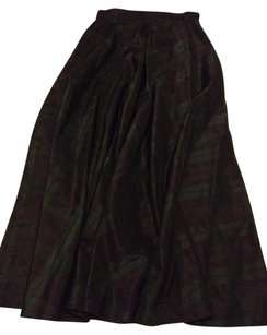 Talbots Preppy Classic Maxi Skirt BLACKWATCH TARTAN SILK Black Green