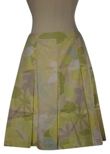 Talbots Womens Petites Yellow Floral Knee Length Pleated Skirt Multi-Color