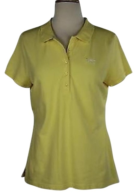 e6550c2da47c38 on sale Talbots Womens Yellow Solid Top Short Sleeve Cotton Blend Polo
