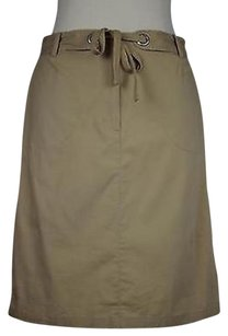 Talbots Womens Solid Above Knee Blend Straight Skirt Tan