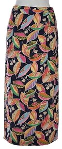 Talbots Petite Womens Blue Floral Straight Long Casual Skirt Multi-Color
