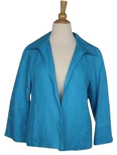 Talbots Talbots Womens Petites Blue Blazer Long Sleeve Linen Jacket