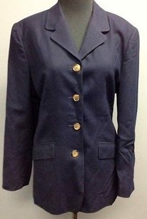 Talbots Talbots Navy Wool Lined Long Sleeve Button Front Pocket Blazer 1540