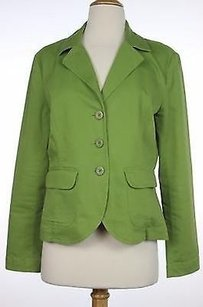 Talbots Talbots Womens Green Solid Blazer Long Sleeve Cotton Blend Jacket