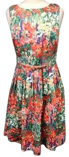 Talbots short dress Multi-Color Orange Blue Floral Cotton Blend Belted Sleeveless Tea 2959a on Tradesy