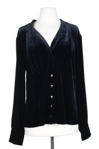 Talbots Womens Solid Velvet Button Down Long Sleeve Top Black