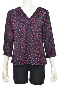 Talbots Womens Navy Printed 34 Sleeve Polyester Shirt Top Multi-Color