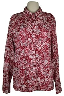 Talbots Womens White Paisley Button Down Long Sleeve Shirt Top Red